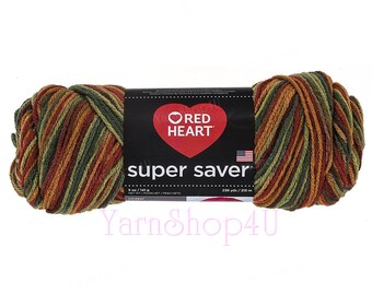 FALL Red Heart Super Saver. Earthy shades of Copper Brown and Forest Green. Multi color Acrylic. Large 5oz ball. Ombre yarn. Variegated Yarn