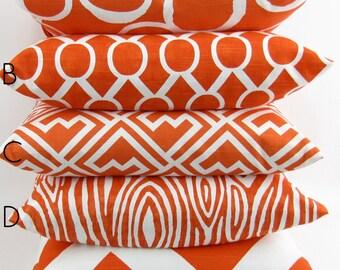 Tangerine Orange Pillow Cover -MANY SIZES- modern tangelo white sham geometric throw decorator cushion wood grain premier prints FREESHIP