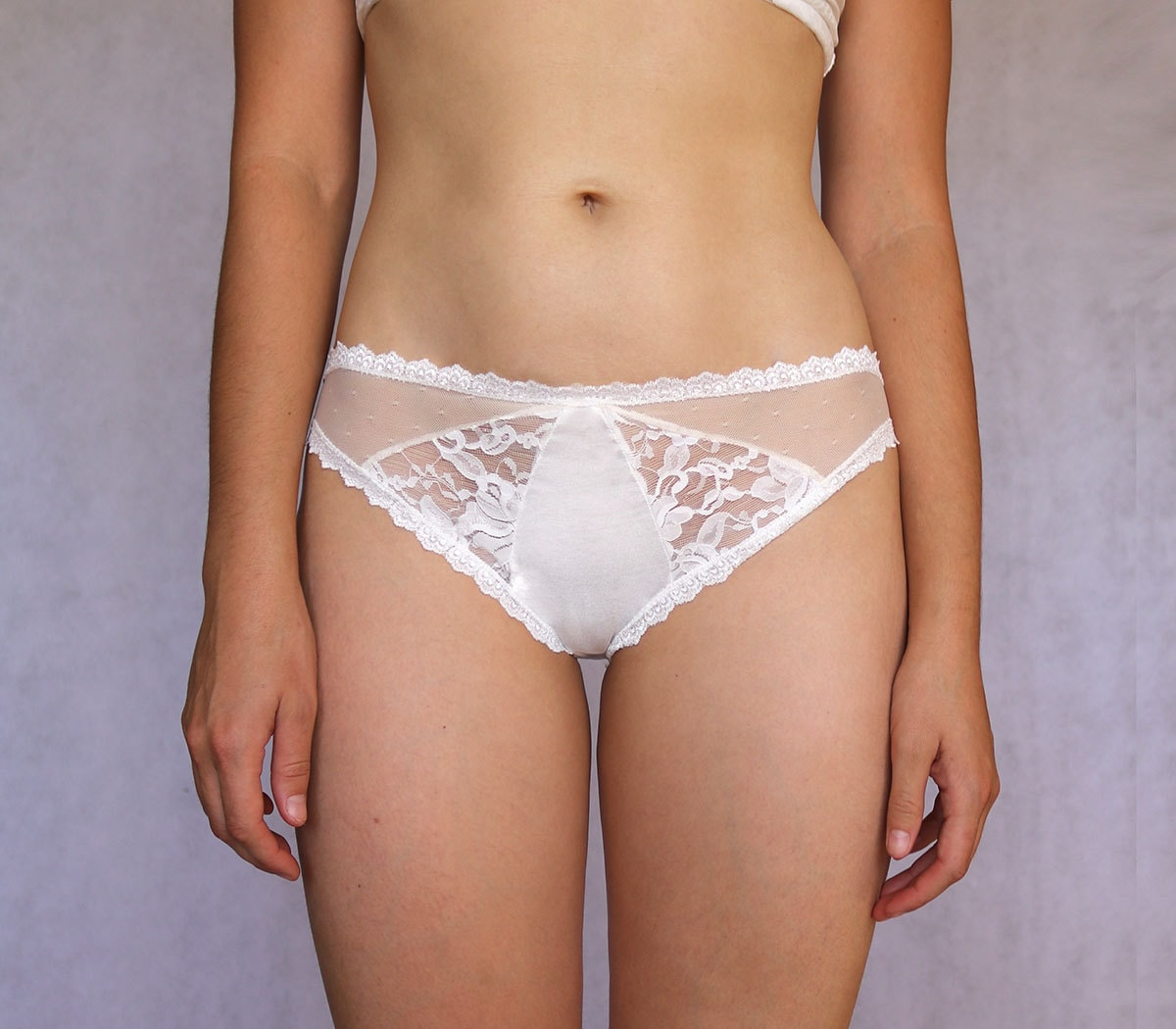 beautiful ivory bridal lace panties. multitextured off white.