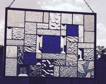 Delicious Royal Blue Cobblestone Stained Glass Panel