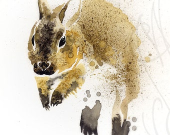 "Martinefa's Original watercolor and Ink, presented in hand personalised frame - ""Rabbit"""