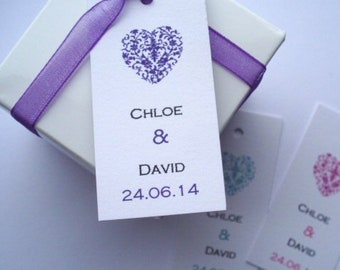 Favour Tags - Personalised Wedding Favour Tags -  Heart Favour Tags