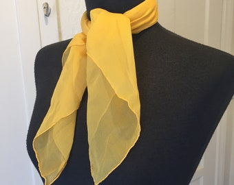 SUNFLOWER Yellow Scarf, Sheer Yellow Scarf, Large Yellow Scarf, Yellow Scarf, Sheer 50's Rockabilly Style, Headscarf, Hair Wrap