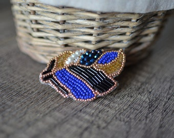 Feather Beaded Pin Brooch