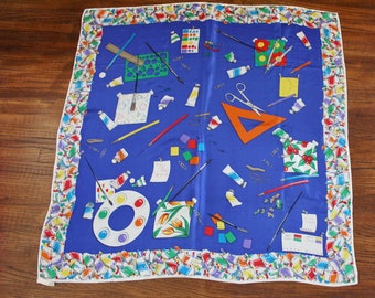"""Perry Ellis Large Silk Scarf For An Artist Painter 35"""" x 36"""""""