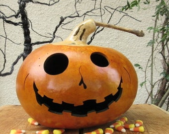 Halloween Gourd Ghost Top Jack O Lantern Primitive Holiday Decoration ( with removable eye )