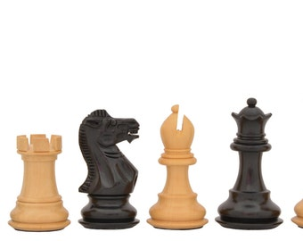 Wooden Weighted Staunton Chess Set Ebony Wood Handcarved Knight 4 Queens. SKU: M0010
