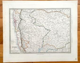 Antique 1845 India Map from SDUK Atlas – Bombay, Mumbai, Beejapoor, Beeder, Hyderabad, Berar, Concan, Arabian Sea, Pune, Nashik, Satara