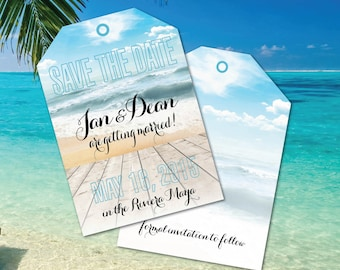 Save the Date Luggage Tag // Destination Weddings // Wedding in Mexico // Punta Cana // Fiji //Caribbean