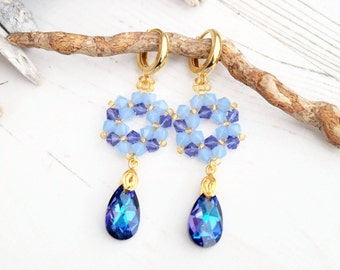 Long blue Swarovski teardrop crystal earrings Swarovski beaded retro jewellery bridesmaid wedding drop blue gold earrings Heliotrope