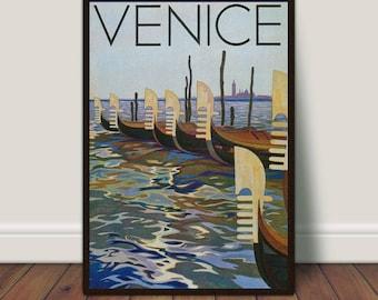 Venice Italy Print, Gondolas, Romance, Vintage Travel, Italian, Poster Printable, PRINTABLE Art, Vintage Poster, Large Print, Large Wall Art