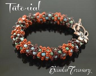 "Beaded bracelet tutorial, seed bead pattern, matubo pattern, beading tutorial. ""Patina Love"" / BEADING TUTORIAL ONLY"