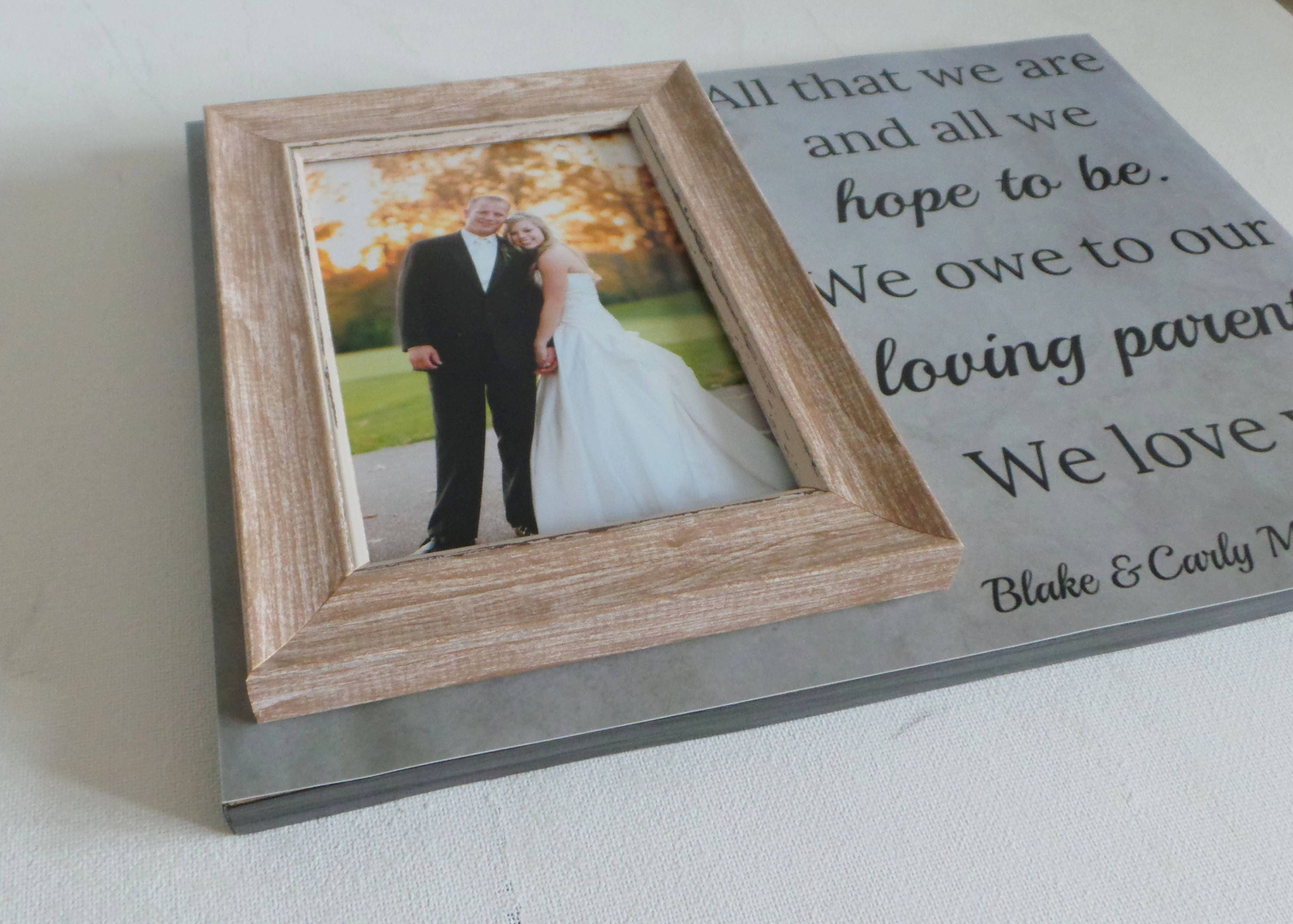 parents thank you gift, personalised wedding frame, couples wedding ...