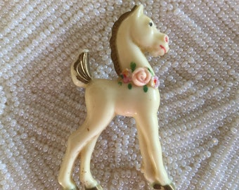 Vintage HORSE PIN      White CELLULOID Horse Pin    1930s Horse Pin