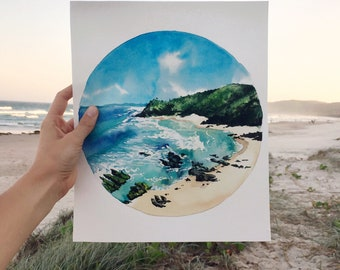 Original Watercolor Painting, Byron Bay, Beach, Ocean, Blue