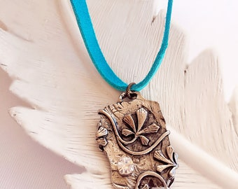 Silver Leaf Necklace - Turquoise Necklace - Boho Jewelry - SECRETS Necklace - Enchanted Dreams Collection