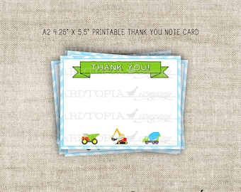 Instant Download - Thank You Note Card Birthday Tags Birthday Construction Tractor Big Trucks Party Pack Digital DIY Printable - 208050180