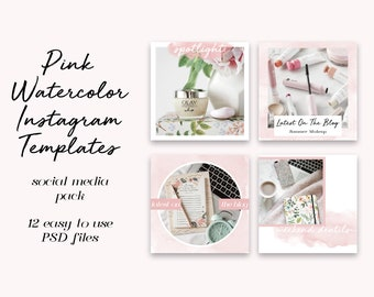 Instagram Template Pack - 12 Pink Watercolor Templates - Social Media Photoshop Kit for Bloggers, Small Businesses, Influencers, Creatives