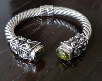 Men 925 Sterling silver cable cuff bracelet with natural Peridots handmade.