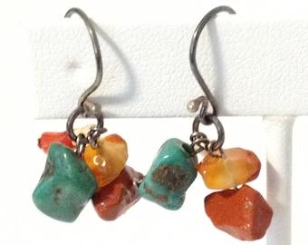 Green Jasper Orange Agate Chip Pierced Earrings 925 Sterlling Silver gw15-918