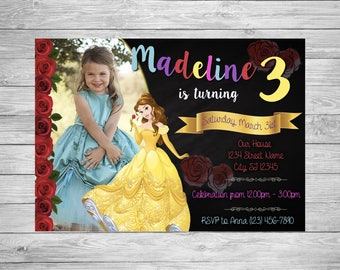 Belle Princess Beauty and the Beast Party Invitation Customizable Birthday
