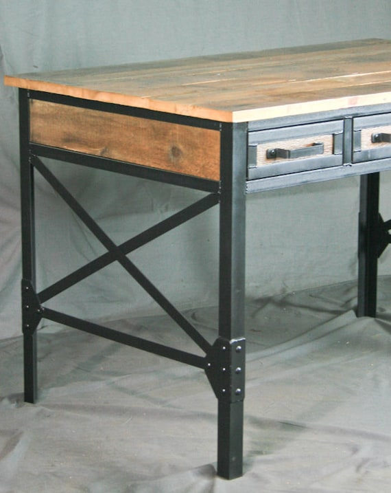 Reclaimed Wood Desk with Drawers. Industrial Office Desk with Storage.  French Industrial Desk. Vintage Modern Desk. Urban Industrial Table.