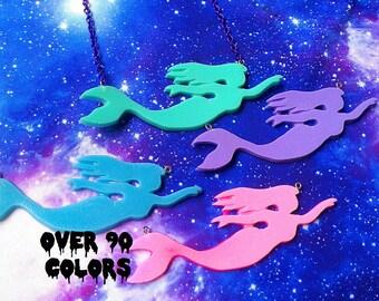 Pastel Goth Mermaid Resin Necklace, Fairy Kei, Lolita, Kawaii