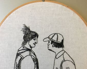 What would Saffiyah Kahn do - hand drawn and embroidered feminist wall hanging hoop art