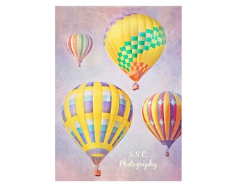 Hot Air Balloon Photography. Colorful Art. Dreamy Whimsical. Baby Girl Nursery Decor. Children's Room Art. Pink. Purple. Yellow. Balloons