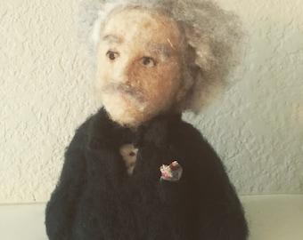 Needle felted Einstein bust. Made with Marino Cross Batt.