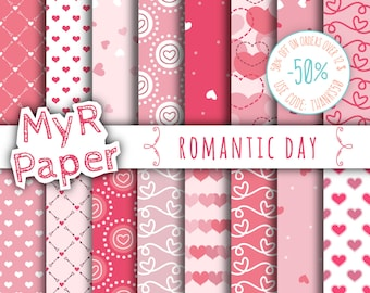 "Love digital paper: ""ROMANTIC DAY"" pack for valentine's day with sweets hearts in pink patterns, coral and strawberry red, valentine"