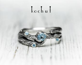 Silver twig ring, branch ring, silver branch ring. Sterling silver nature ring from Kochut twig collection.