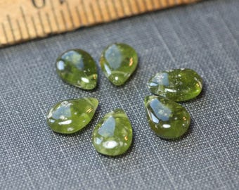 Vesuvianite Briolette Beads Green Gemstone Beads Teardrop Two Beads Pair