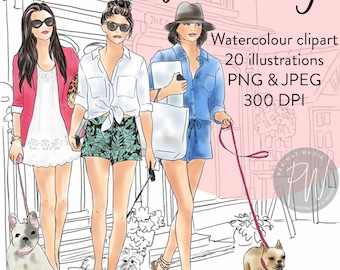 Girls with Dogs watercolour clipart, fashion illustration, fashion print, watercolour, fashion clipart, girl logos, printable art