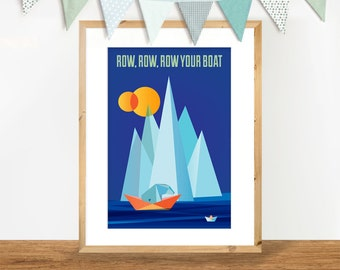 Row Your Boat A4 Print, Nursery Rhyme Quote Poster, Geometric Illustration of Polar Bear in Deep Ocean Blue and Orange