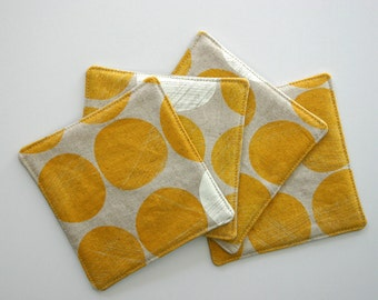 Connect Golden Fabric Coasters Set of 4. Cloth Coasters, Rich Yellow Chalk White Circles on Linen Mustard Mother's Day Gift, Hostess Gift