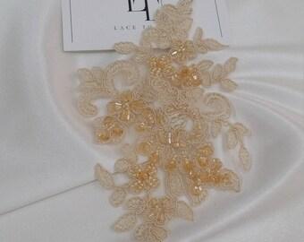 Beige Lace applique, Beaded lace applique, French Chantilly lace applique, 3D lace, bridal lace applique, M0040