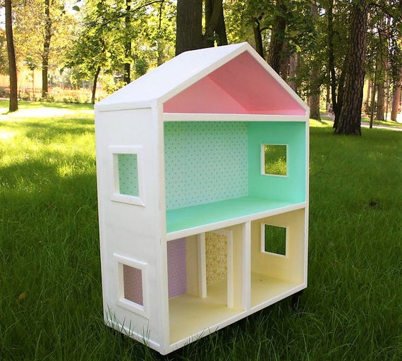 Big Handmade Bookshelf Wooden Doll House Plywood Girl House