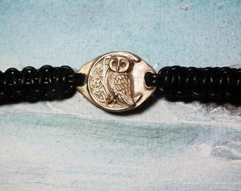 Ajustable unisex bracelet, goldcolor Bronze  owl+pentagram+moon the celtic tree of life+pentagram, leather macramé(silver color/copper too)