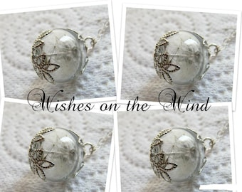 Bridesmaid Necklace Gift Set of 4 - Dandelion Wish Tiny Glass Globe - Wedding Jewelry, Gift for Her, Boho Wedding, Alternative Bridal Gifts