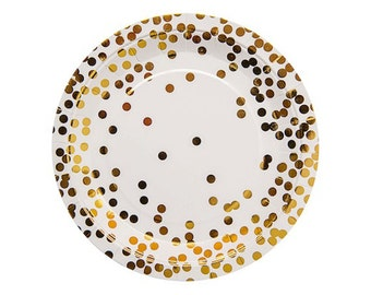 GOLD CONFETTI PLATES (Set of 10) - Metallic Gold Confetti Plates (23cm / 9 inch diameter)  sc 1 st  Etsy Studio & Pink Gold Confetti Address Labels | Summer Party Birthday | Custom ...
