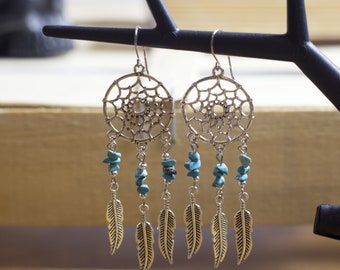 dreamcatcher earrings Bohemian style - boho - Gypsy - magic - magic - trendy - hippie - Indian - ethnic - spring