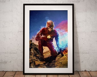The Flash Painting Print, DC Flash Print, Super Hero Wall Art, Justice League Decor, Flash comics, Justice League poster