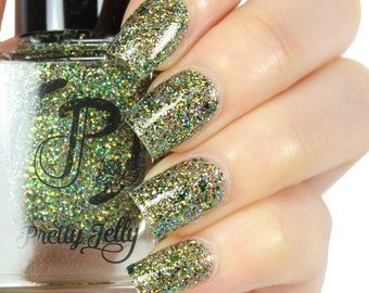 Holographic Glitter Nail Polish, Indie Nail Lacquer, Green Holo Nails, Multichrome Flakie, Custom Nail Color, Gift for Her, Vegan, CERELIA