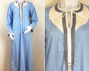 30% Off Sale 70s Light Blue Embroidered Kaftan Maxi Dress, Women's Medium or Men's Small