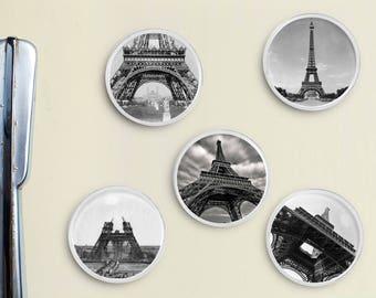 Paris Eiffel Tower Magnets - Fridge Magnets, France, Office Decor, Locker Magnets, Refrigerator, Kitchen, Black and White Photos, Retro