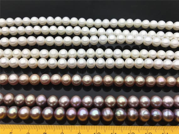 AAAA 7.5-8.5mm white/purple round freshwater pearlsbest
