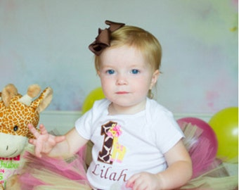 Giraffe 1st Birthday Tutu Outfit, Pink Brown Yellow