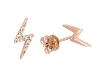 14k Rose Gold Diamond Lightning Earrings