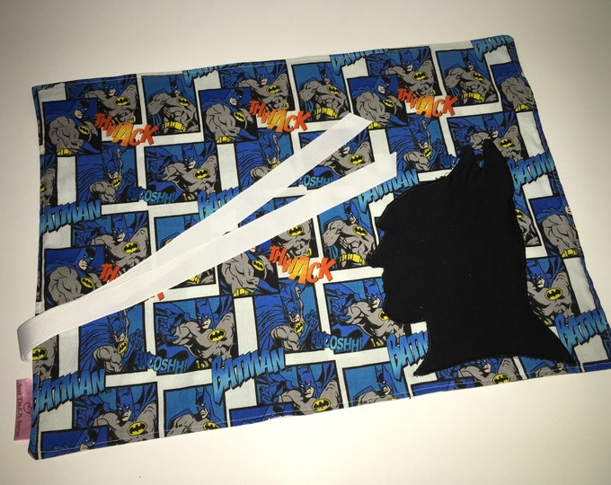 Batman Inspired Pocket Placemat for Tailgating Lunchmat Travel placemat Pocket Placemat linens Toddler Placemat